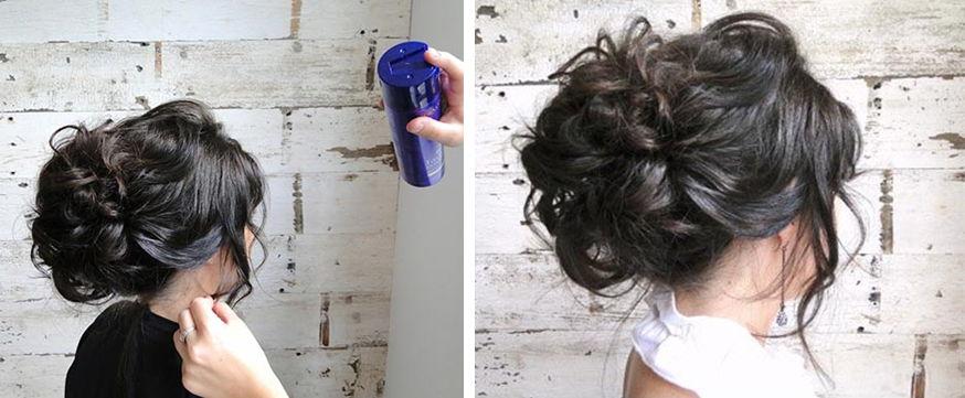 Высокие прически на средних волосах