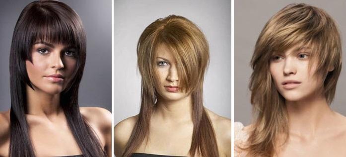 Ассиметричные стрижки с челкой на длинные волосы
