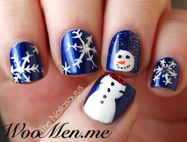 Новогодние принты на ногтях