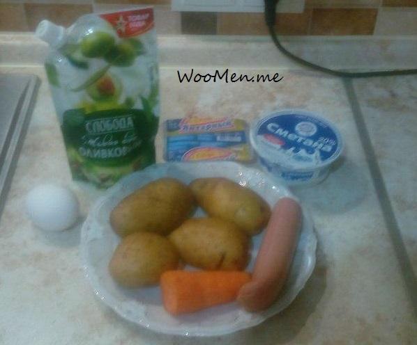 Картошка запеченная с сосисками