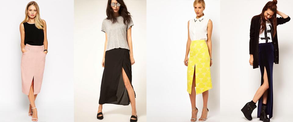 модные юбки с разрезом 2017