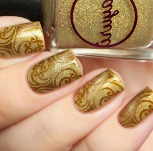 маникюр золотой дизайн