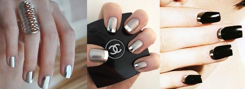 маникюр серебро и металлик