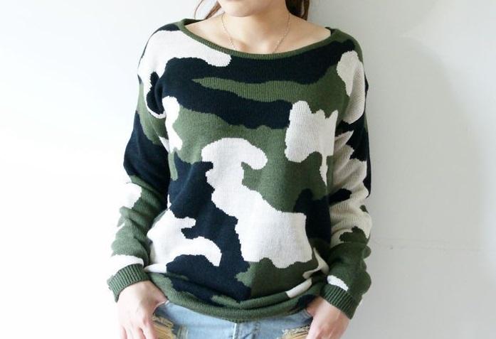 вязаный свитер милитари