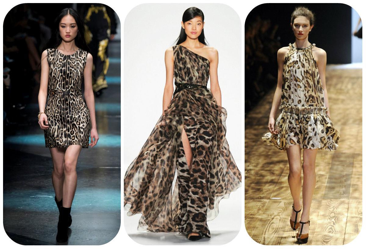 Леопардовый рисунок на платьях в 2016 году