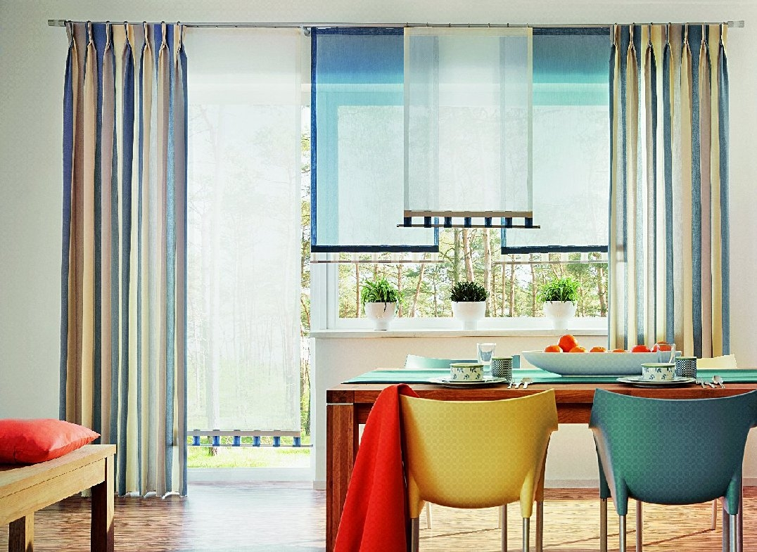Льняные шторы на кухню в 2016