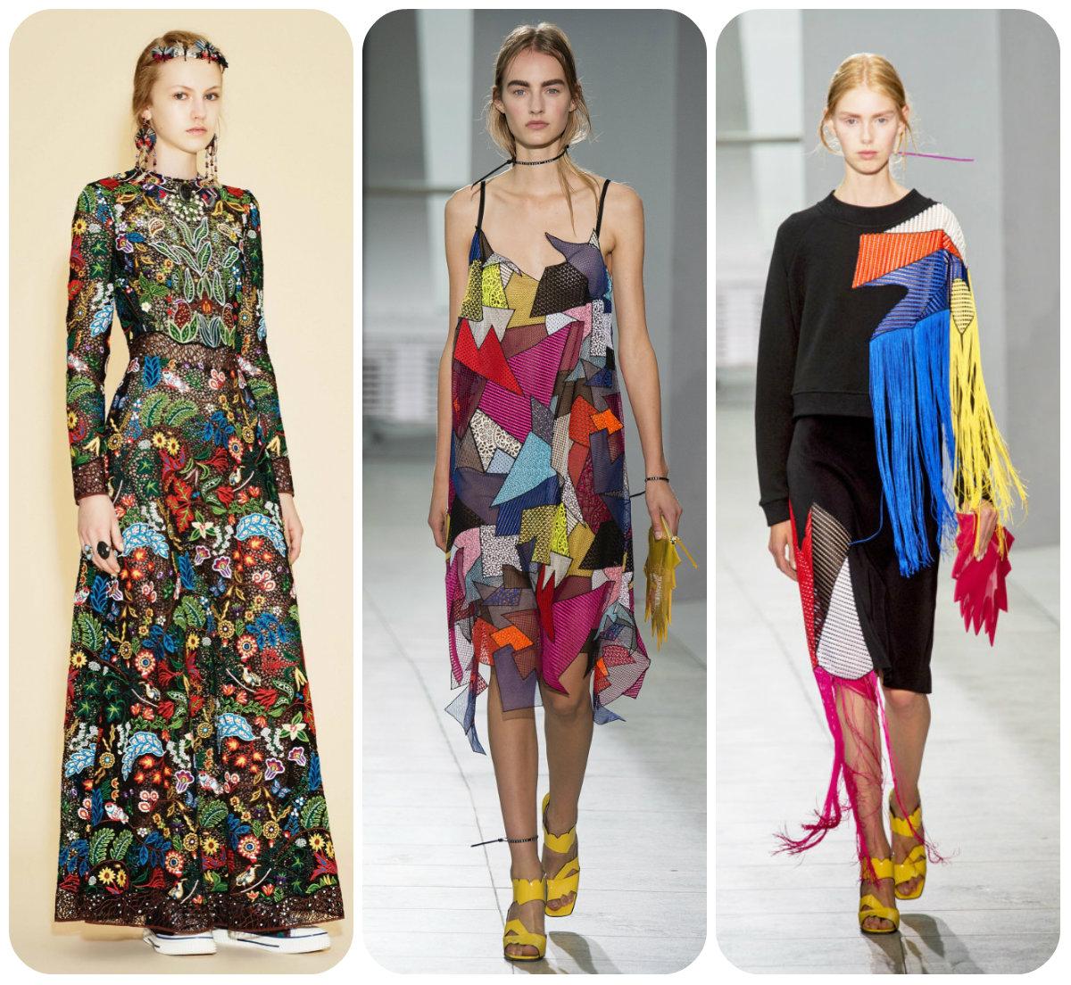 Лоскутные мотивы в платьях и сарафанах