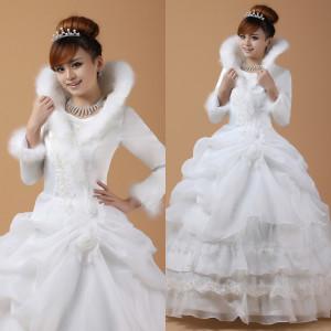 Зимнее свадебное платье фото