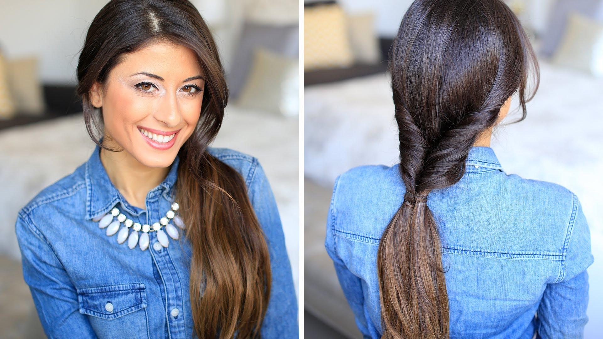 Вывернутый хвост на длинных волосах