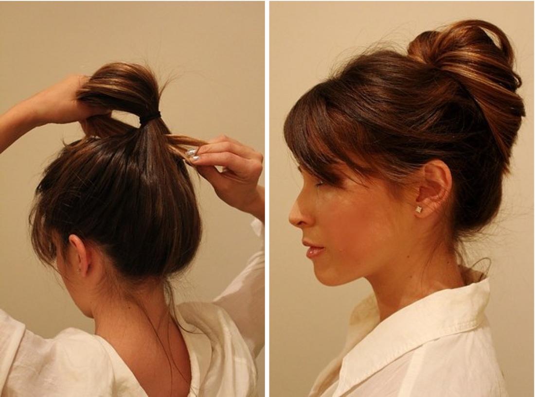 Вывернутый хвост на средних волосах